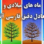 ماه های میلادی و معادل فارسی آنها – ترتیب و معادل ماههای میلادی