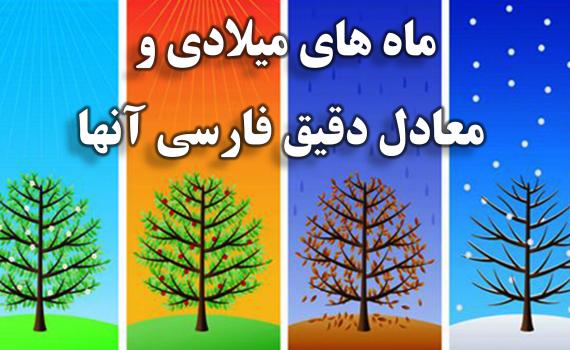 ماه های میلادی و معادل فارسی